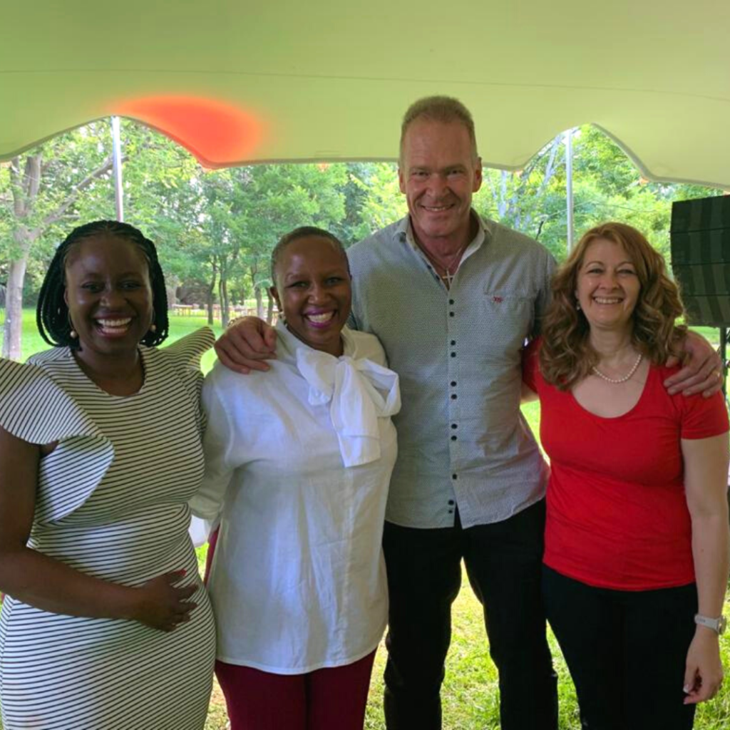 Dave and Karen Fisher with with Charlotte Nsubuga-Mukasa and Kamogelo Gordon from Momentum.